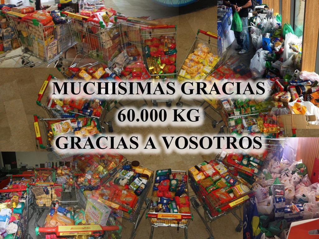 Gracias a todos 60.000 kilos de alimentos por vosotros.